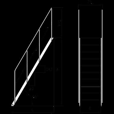Escalera fija con apoyo de 60 for Escaleras 45 grados