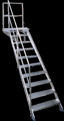 Escalera fija con apoyo 45 for Normas de seguridad para escaleras fijas