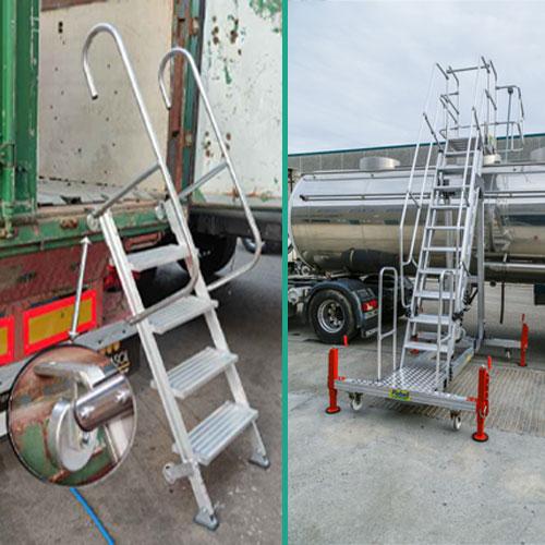 Escalera de aluminio magnética y para camiones cisterna